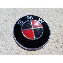 EMBLEMA BMW ORIGINAL 7CM NEGRO Y ROJO CARBON