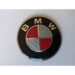 EMBLEMA BMW ORIGINAL 7CM BLANCO Y ROJO CARBON
